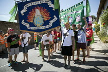 22-07-2018 - FBU banners at Tolpuddle Martyrs' Festival, Dorset 2018. © Jess Hurd