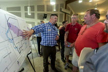 31-07-2018 - Parchment, Michigan USA, State of emergency declared after high levels of PFAS chemicals found in drinking water. Residents examining a map showing the extent of PFAS contamination of their drinking w... © Jim West