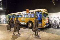 25-04-2018 - Memphis, Tennessee USA The National Civil Rights Museum at the Lorraine Motel where Martin Luther King was assassinated in 1968. A vintage city bus with figures of African-American women walking to wo... © Jim West