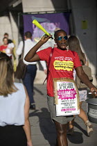 07-08-2018 - Cleaners in UVW union striking over low pay and unfair working conditions, Ministry of Justice, Westminster, London © Jess Hurd