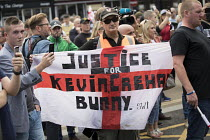 01-09-2018 - EDL national protest Worcester, against a potential mosque. Justice for Kevin Crehan flag. Bacon mosque attacker Kevin Crehan died in Bristol Prison after drug overdose © Jess Hurd