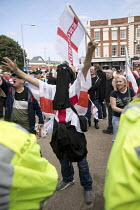 01-09-2018 - Man wearing a hijab, EDL national protest Worcester, against a potential mosque © Jess Hurd
