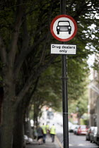 16-09-2018 - Community activists erecting spoof street signs highlighting the levels of drug dealing in London E2, which apparently has the cheapest heroin in Europe. The anti drugs street art campaign called the... © Jess Hurd