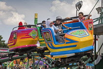 05-08-2018 - Dearborn, Michigan USA Arab-American children ride the Jungle Twist carnival ride at the annual Dearborn homecoming festival. Nearly half of Dearborn's residents are Arab-Americans, mostly Muslims. © Jim West