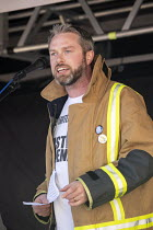 29-09-2018 - Andrew Scattergood FBU speaking, protest against Austerity cuts ahead of the Conservative Party Conference, Birmingham © John Harris
