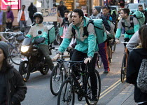 04-10-2018 - Take away food delivery workers strike for better pay, Bristol. The workers want a minimum of �5 per delivery, paid waiting times at restaurants of 17p per minute, a freeze on hiring new riders and gr... © Paul Box