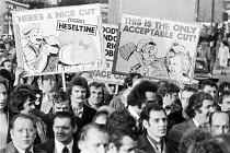 28-11-1979 - 50,000 march on TUC Anti cuts protest, London 1979 a few months after election of Conservative government © NLA