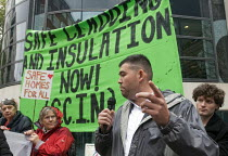 17-10-2018 - Dave Shek FBU speaking at Safe Cladding and Insulation Now protest, MHCLG, London. Following the Grenfell tragedy, protest demanding safe cladding for housing and public sector buildings and proper in... © Stefano Cagnoni