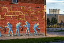 15-10-2018 - Detroit, Michigan, USA Mural on a building infront of US Ecology hazardous waste plant showing chemicals being dumped into the ground. The plants are all located in poor, mostly African-American areas... © Jim West