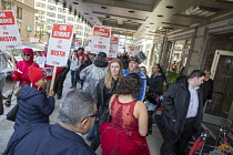 20-10-2018 - Detroit, Michigan USA Marriott Hotel workers strike against low pay Westin Book Cadillac hotel. Workers want better wages, so they do not have to work more than one job. Managers escort well dressed g... © Jim West