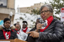20-10-2018 - Detroit, Michigan USA Marriott Hotel workers strike against low pay Westin Book Cadillac hotel. Workers want better wages, so they do not have to work more than one job. Congresswoman Brenda Lawrence... © Jim West