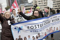 10-30-2018 - Foster Care Workers, Rise of precarious workers protest, supporting Uber drivers for employment rights in the High Court, organised by IWGB trade union, London © Jess Hurd