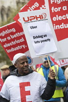 10-30-2018 - Rise of precarious workers protest, supporting Uber drivers for employment rights in the High Court, organised by IWGB trade union, London © Jess Hurd