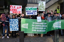 13-11-2018 - Residents of Eros House tower block protest about housing conditions, inadequate heating, disrepair, damp and anti social behaviour, supported by the Renters Union, Catford, Lewisham Council, South Lo... © Jess Hurd