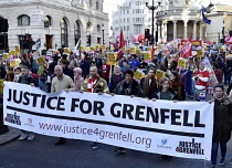 17-11-2018 - Stand Up To Racism protest London. Matt Wrack FBU with Justice For Grenfell campaigners © Stefano Cagnoni