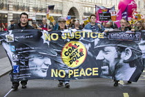 17-11-2018 - Orgreave Truth and Justice Campaign, Stand Up To Racism protest London. Banner photograph by Martin Jenkinson © Jess Hurd