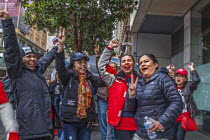 03-12-2018 - San Francisco, USA Striking Marriott Hotel workers celebrating the successful end of their strike. After 61 days the Unite Here! union got agreement to a new contract. Low wages had required many work... © David Bacon