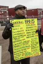 10-12-2018 - Detroit, Michigan USA Activists protest against radioactive fracking waste, US Ecology hazardous waste disposal plant. They were protesting bills in the Michigan state legislative session that would i... © Jim West
