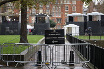 05-12-2018 - No public access sign. Empty temporary outdoor media studios on College Green, opposite the Houses of Parliament as MPs debate Brexit deal, Westminster, London. © Philip Wolmuth