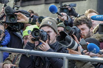12-12-2018 - News photographers, radio and TV journalists working on College Green, opposite the Houses of Parliament, London, on the day Conservative MPs launched a leadership challenge © Philip Wolmuth