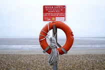 01-01-2019 - Lifebuoy Lydd on Sea, Dungeness, where refugees came ashore from France in a small dingy, Kent © Jess Hurd