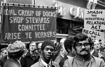 22-10-1973 - Con Mech dispute 1973. AUEW protest against fines imposed under the National Industrial Relations Act for trade union blacking of Con Mech for refusing union membership. Royal Group of Docks Shop Stew... © Peter Harrap