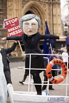 15-01-2019 - Avaaz Titanic steered by Theresa May with a People's Vote lifebuoy protest as Parliament prepares to vote on Brexit, Westminster, London. Avaaz joint campaign with Best for Britain and Hope Not Hate c... © Jess Hurd