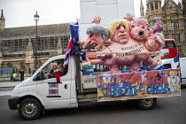 15-01-2019 - Anti Brexit protest as Parliament prepares to vote on Brexit, Westminster, London. Float with a multi-headed chimera sculpture by Jacques Tilly with the faces of Theresa May and three leading Brexit c... © Jess Hurd