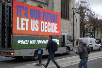 15-01-2019 - People's Vote mobile advertisment outside the Houses of Parliament as Parliament prepares to vote on Brexit, Westminster, London © Philip Wolmuth
