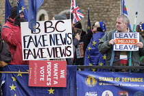 15-01-2019 - BBC Fake News Fake Views. Pro and anti Brexit protests as Parliament prepares to vote on Brexit, Westminster, London © Philip Wolmuth