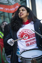 22-01-2019 - UVW and PCS strike, BEIS, London by outsourced cleaners, receptionists and security for a London Living Wage, sick pay and annual leave © Jess Hurd