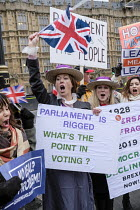 29-01-2019 - Brexit supporters dressed as Suffragettes protest, Houses of Parliament as MPs vote on amendments withdrawal deal with the EU, Westminster, London © Philip Wolmuth