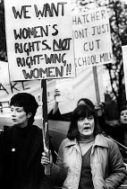 02-05-1979 - Women protest against Margaret Thatcher, Finchley, 1979 General Election Campaign. We want women's rights not rightwing women!! © Angela Phillips