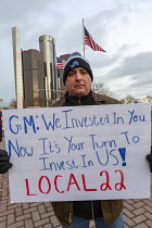 18-01-2019 - Detroit, Michigan USA GM workers protest at GM headquarters to protest closure of five factories © Jim West