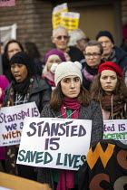06-02-2019 - Rally for the Stansted 15 activists, Chelmsford Crown Court, Essex, convicted of a terrorism related offence for stopping an immigration removal flight at Stansted airport receive suspended sentences... © Jess Hurd
