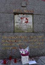 17-02-2019 - Marx Memorial vandalised, Highgate Cemetery, London. Memorial to Karl Marx after its initial cleaning to remove the worst of the graffiti that besmirched his grave © Stefano Cagnoni
