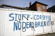 22-02-2019 - Stuff Corbyn, No Deal Brexit, defaced pro Brexit graffiti, Hendon, West London © Jess Hurd