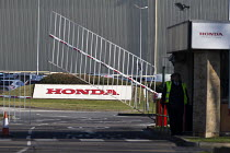 25-02-2019 - Honda Swindon car plant which will close in 2021 with the loss of 3,500 jobs. Gate closing © John Harris