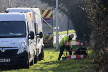 25-02-2019 - BT workers installing Openreach broadband cables, Highworth, Wiltshire © John Harris