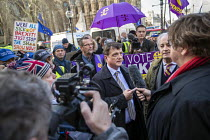 14-03-2019 - Gerard Batten UKIP MEP being interviewed by the press outside Parliament during votes on how the UK leaves the European Union, Westminster, London. © Jess Hurd