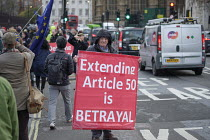 14-03-2019 - Brexit protest outside the Houses of Parliament as MPs vote extending Article 50 deadline for an agreed withdrawal deal with the EU, Westminster, London. Extending Article 50 is Betrayal © Philip Wolmuth