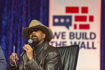 14-03-2019 - Detroit, Michigan, USA: We Build the Wall Rally, Former Milwaukee County Sheriff David Clarke speaking speaking to promote construction of a Mexican border wall © Jim West