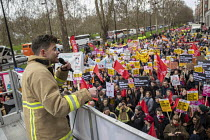 16-03-2019 - FBU speaker, Stand Up to Racism march and rally, London. UN Anti Racism Day © Jess Hurd
