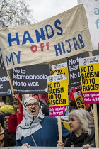 16-03-2019 - Hands of My Hijab banner, UN anti racism day, United Against Fascism protest, London. © Jess Hurd