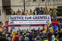 16-03-2019 - Firefighters supporting Justice for Grenfell, Stand Up to Racism march and rally, London. UN Anti Racism Day © Jess Hurd