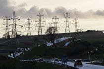 17-03-2019 - Electricity pylons and a dual carriageway, Pembrokeshire, Wales © John Harris