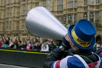 27-03-2019 - Steve Bray anti Brexit protestor shouting No Brexit! down a megaphone, Parliament, Westminster, London he is known as Mr. Stop Brexit © David Mansell