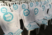 12-04-2019 - Campaign T-shirts, Brexit Party launch, Coventry. European Parliament elections campaign © John Harris