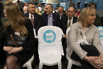 12-04-2019 - Campaign T-shirt, supporters gathering, Brexit Party launch, Coventry. European Parliament elections campaign © John Harris