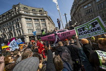 15-04-2019 - The Correspondents performing, Extinction Rebellion protest Oxford Circus against lack of government action on climate change. Nonviolent direct action simultaneous blocking London. © Jess Hurd
